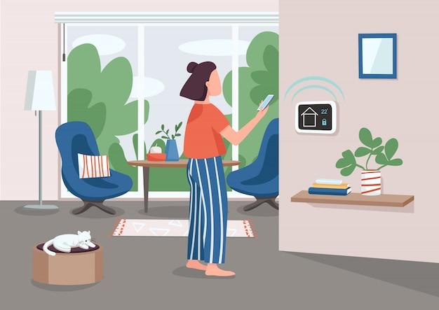 Illustrazione di colore piana del pannello astuto della gestione domestica. giovane donna che usando il personaggio dei cartoni animati 2d dello smartphone con l'appartamento automatizzato su fondo. tecnologia iot. telecomando per elettrodomestici