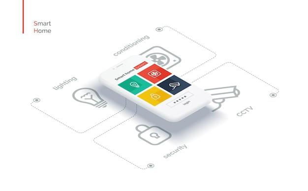 Interfaccia mobile smart home infografica con un telefono cellulare