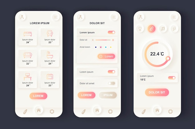 Smart home moderna app mobile ui di design neumorfico