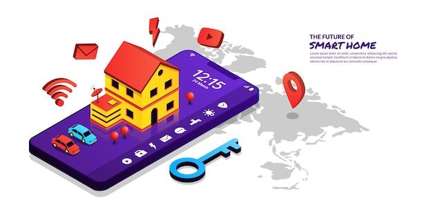 Concetto di tecnologia smart home, telecomando domestico tramite applicazione smartphone