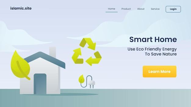 La casa intelligente usa l'energia pulita per salvare la natura per l'illustrazione di progettazione di vettore del fondo isolata piana della homepage di atterraggio del modello del sito web