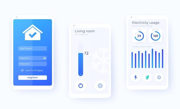 Kit interfaccia utente mobile per app smart house, applicazione smart home,