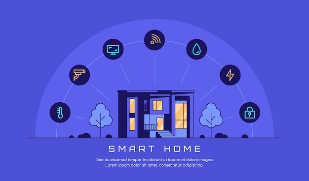 Banner di concetto di casa intelligente