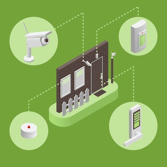 Casa intelligente, illustrazione infografica sistema di sicurezza intelligente. concetto di sistema di sicurezza.