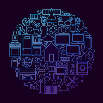 Smart house linea icona cerchio concetto. illustrazione vettoriale di oggetti di tecnologia domestica.