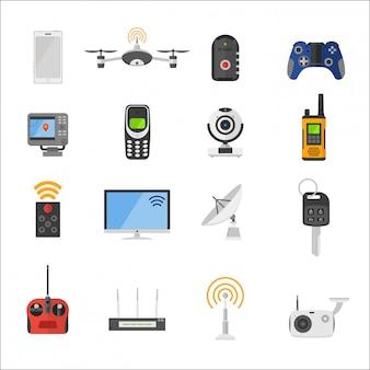 Icone di vettore di dispositivi elettronici di controllo remoto di casa intelligente
