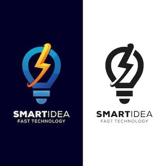 Idea intelligente e logo tecnologia veloce, idea veloce, disegno logo lampadina a forma di tuono con versione nera