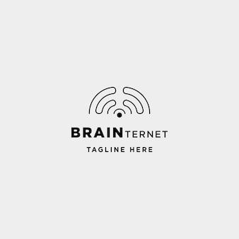 Smart internet logo design vettore cervello connessione wifi simbolo icona segno isolato