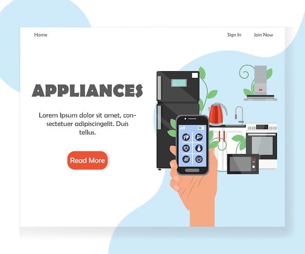 Modello di pagina di destinazione del sito web di elettrodomestici da cucina intelligenti