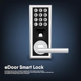 Smart lock of security porta elettronica per ingresso casa, intelligenza automatica tecnologia digitale bloccata con chiave della porta moderna.