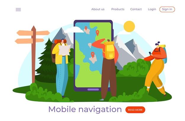 Mappa intelligente per turisti Vettore Premium