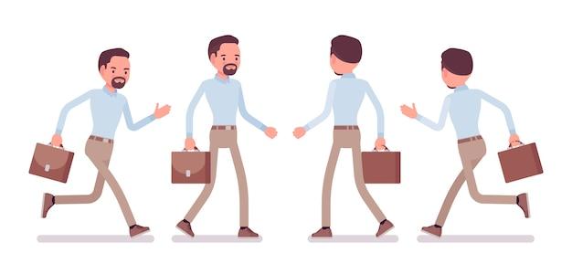 Elegante uomo di mezza età in camicia abbottonata e pantaloni chino skinny color cammello, che cammina, corre. tendenza abbigliamento da lavoro elegante business, moda città ufficio. stile cartoon illustrazione, anteriore, posteriore