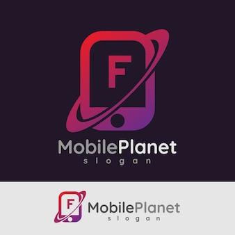 Smart mobile iniziale lettera f logo design