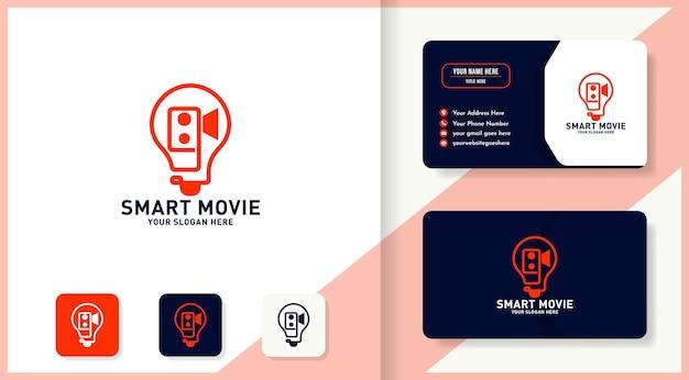 Logo del film intelligente, fotocamera e lampadina con design in stile linea e design del biglietto da visita
