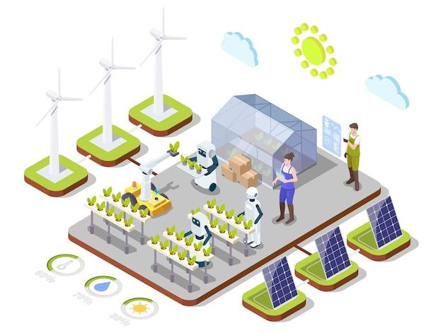 Intelligente agricoltura biologica vettore isometrica infografica ai tecnologie automazione energia pulita in agricu...