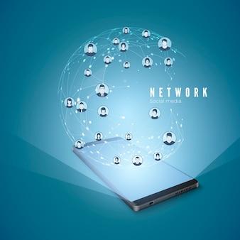 Smart phone e connessioni di rete globale ologramma design concept. moderno concetto di social media. internet mobile e social networking.