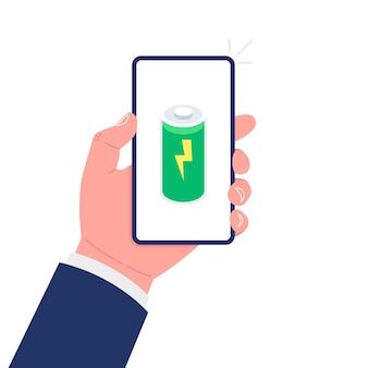 Smartphone in mano. batteria piena. isolato su sfondo bianco. vettore.