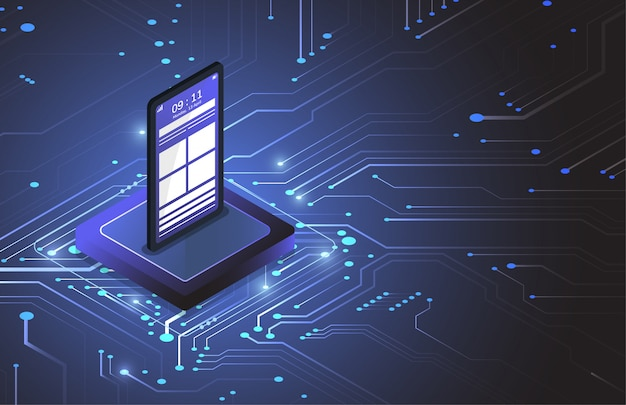 Chipset isometrico dello smart phone sul circuito nella tecnologia futuristica di concetto