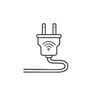 Spina intelligente con icona di doodle di contorni disegnati a mano wifi. casa intelligente, concetto di attrezzatura elettrica