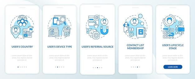 Criteri di regole intelligenti schermata blu della pagina dell'app per dispositivi mobili di onboarding