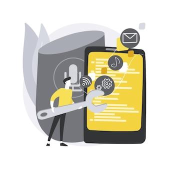 Concetto astratto di sviluppo di app per altoparlanti intelligenti