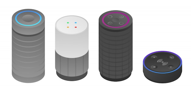 Set di icone smart speaker, stile isometrico Vettore Premium