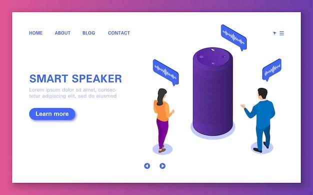 Pagina di destinazione dell'altoparlante intelligente. assistente vocale che dialoga con le persone.