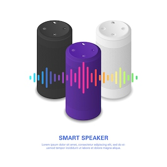 Altoparlante intelligente con onde sonore colorate