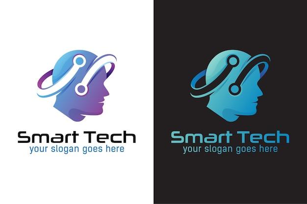 Logo tecnologico intelligente, tecnologia umana o digitale umana, design del logo della tecnologia robotica