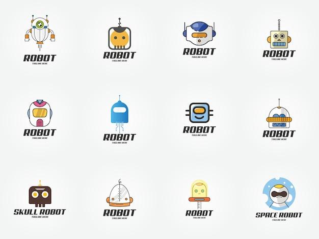 Icona del modello di design logo tecnologia robot intelligente