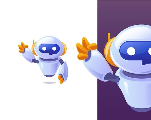 Smart techy chat bot che agita il carattere della mano