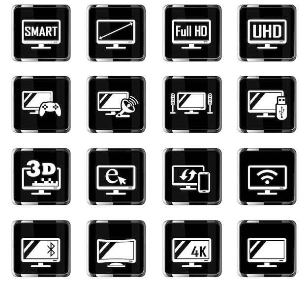 Icone web smart tv per la progettazione dell'interfaccia utente