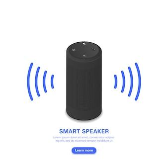 Assistente vocale intelligente. altoparlante portatile nero su bianco