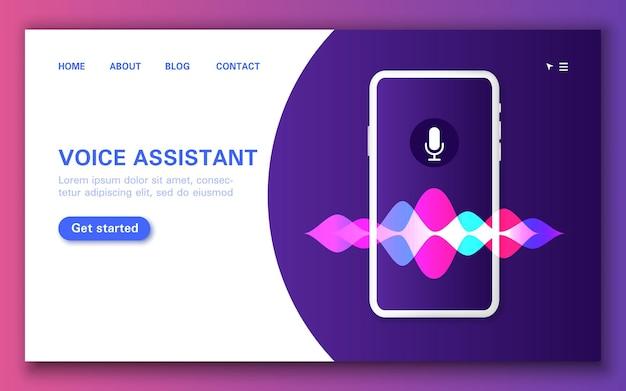 Pagina di destinazione vocale intelligente, applicazione assistente nel telefono.