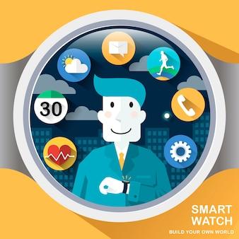 Applicazioni di orologi intelligenti in stile design piatto