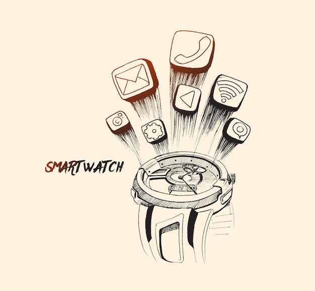 Display del dispositivo smart watch con icone delle app schizzo disegnato a mano illustrazione vettoriale