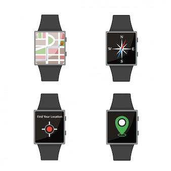 Set orologio intelligente. stile cartone animato elementi piatti