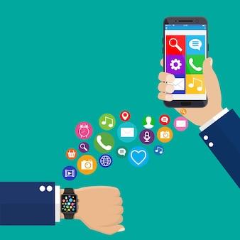 Concetto di sincronizzazione per smartphone smart watch Vettore Premium