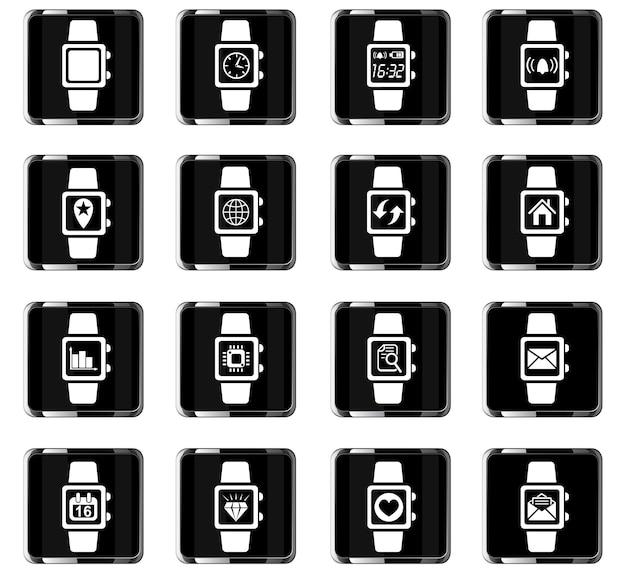 Icone web dell'orologio intelligente per la progettazione dell'interfaccia utente