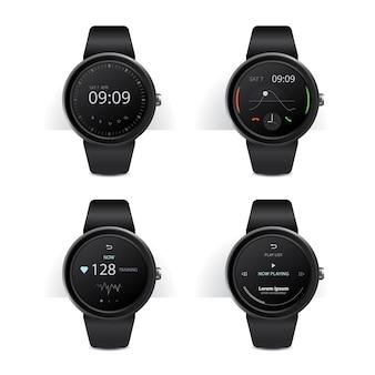 Smart watch con display digitale illustrazione impostata