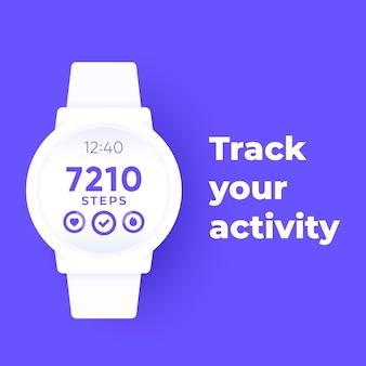 Orologio intelligente con app per il fitness, tracker di attività e contapassi, banner vettoriale
