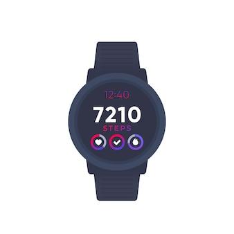 Orologio intelligente con app per il fitness, tracker di attività e contapassi, vettore