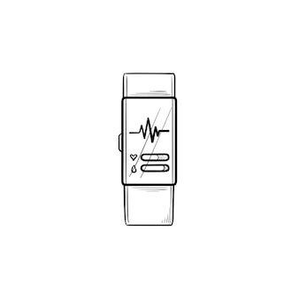 Orologio intelligente con icona di doodle di contorno disegnato a mano di frequenza cardiaca. fitness tracker e assistenza sanitaria, concetto di impulso pulse