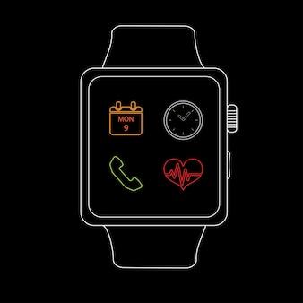 Orologio intelligente con icona, stile di linea Vettore Premium