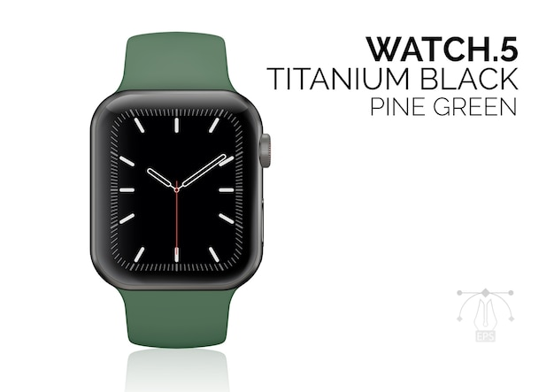 Orologio intelligente con illustrazione realistica del braccialetto verde pino.