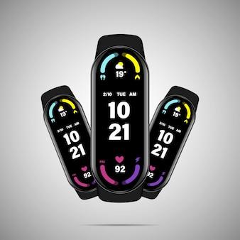 Orologio intelligente con interfaccia orologio intelligente. illustrazione vettoriale.