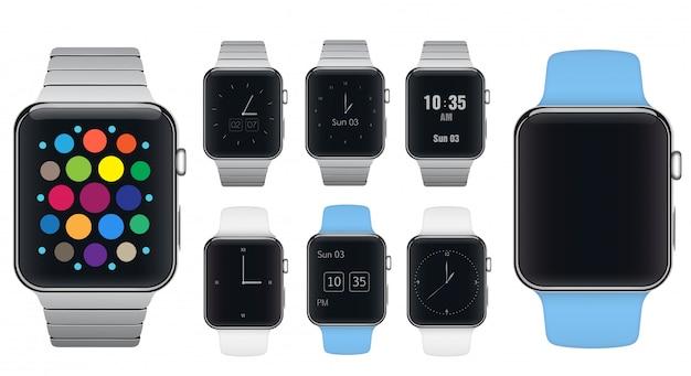 Set di quadranti per orologi smart Vettore Premium