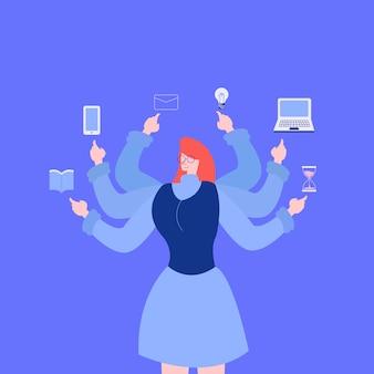 Multitasking smart woman worker