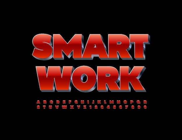 Set di lettere e numeri dell'alfabeto moderno di smart work 3d rosso e metallo