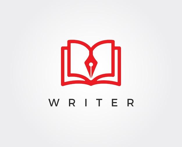 Modello di logo vettoriale di scrittore intelligente